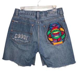 COOGI Denim Cut Off Shorts Destroyed Colorful Pocket Logo Size 32